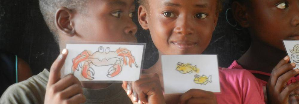 students with animal flashcards
